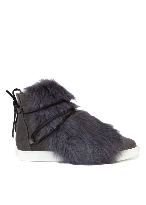 Gianvito Rossi Womens Grey Suede Inuit Fur Trimmed Ankle Boots - Tribeca Fashion House