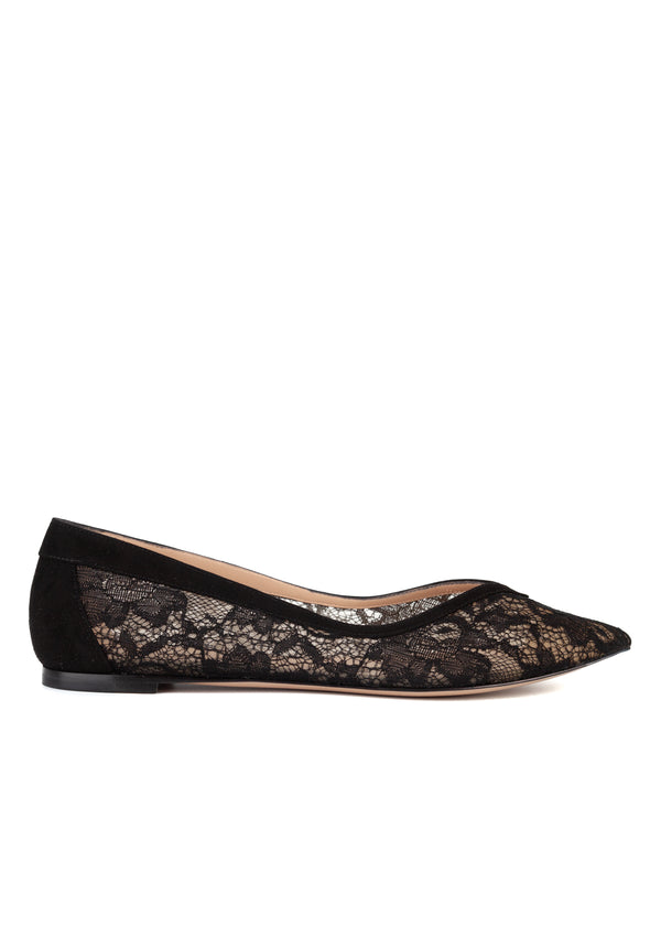 Gianvito Rossi Womens Black Pointed Toe Lace Ballerina Flats - Tribeca Fashion House