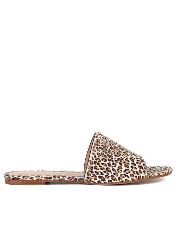 Gianvito Rossi Womens Leopard Print Open Toe Calf Hair Flats Sandals - Tribeca Fashion House