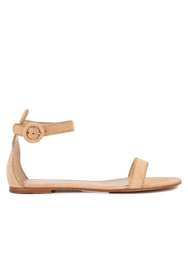 Gianvito Rossi Womens Beige Suede Monili Ankle Strap Flats Sandals - Tribeca Fashion House