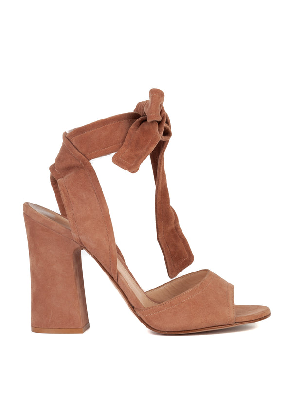 Gianvito Rossi Womens Brown Suede Lace Ankle Wrap Sandal Pumps - Tribeca Fashion House
