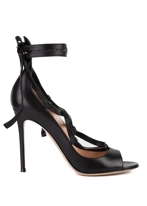 Gianvito Rossi Womens Black Leather Lace Ankle Wrap Sandal Pumps - Tribeca Fashion House
