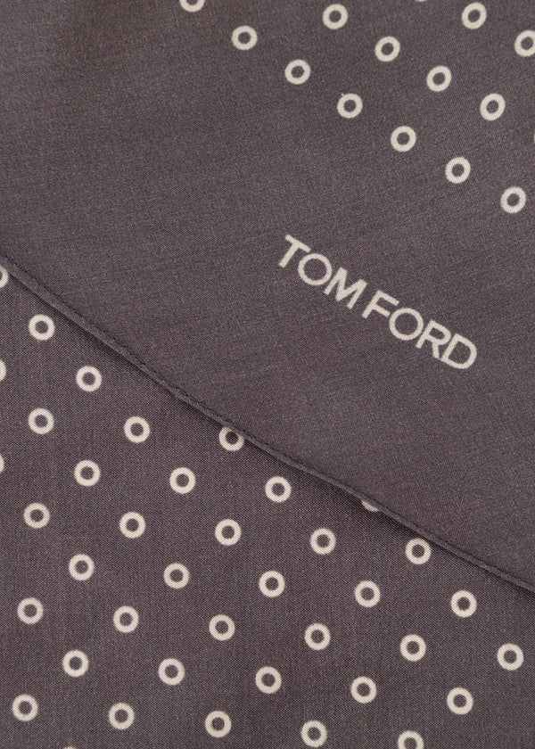 Tom Ford Mens Grey Circles Print Angular Edges Silk Scarf - Tribeca Fashion House