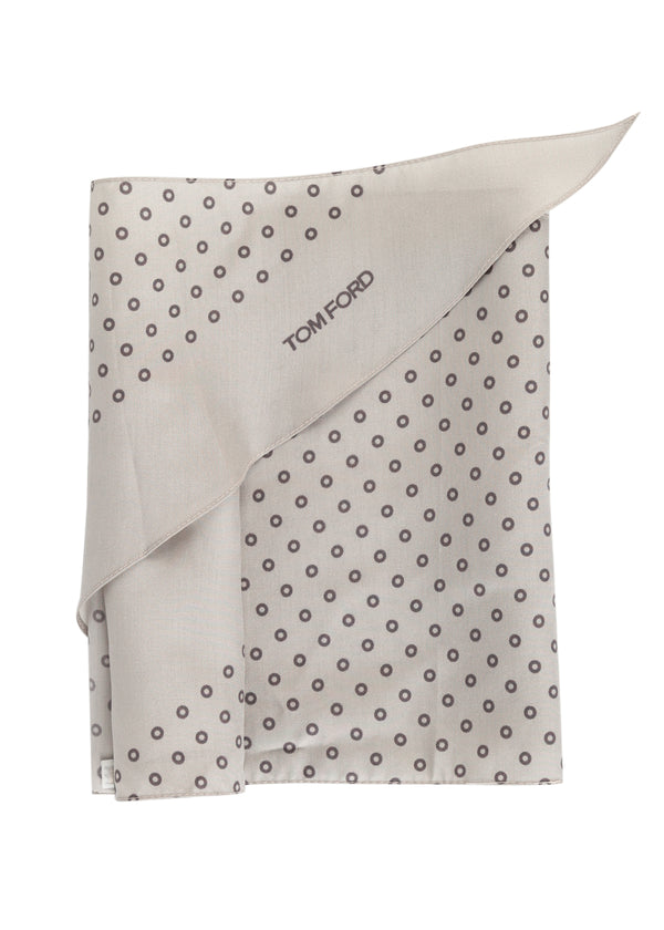 Tom Ford Mens Light Grey Circles Print Angular Edges Silk Scarf - Tribeca Fashion House