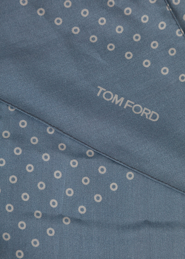 Tom Ford Mens Blue Circles Print Angular Edges Silk Scarf - Tribeca Fashion House
