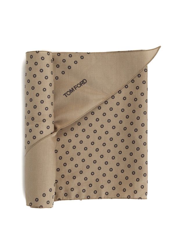 Tom Ford Mens Brown Circles Print Angular Edges Silk Scarf - Tribeca Fashion House
