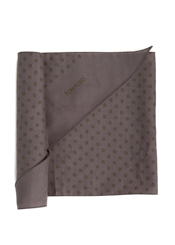 Tom Ford Mens Dark Grey Circles Print Angular Edges Silk Scarf - Tribeca Fashion House