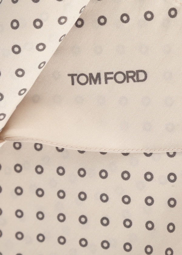 Tom Ford Mens Creme Circles Print Angular Edges Silk Scarf - Tribeca Fashion House