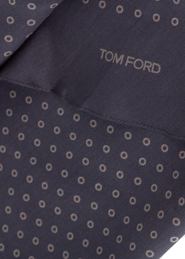 Tom Ford Mens Navy Circles Print Angular Edges Silk Scarf - Tribeca Fashion House