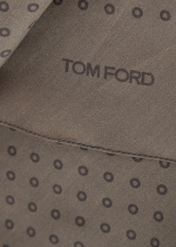 Tom Ford Mens Olive Circles Print Angular Edges Silk Scarf - Tribeca Fashion House
