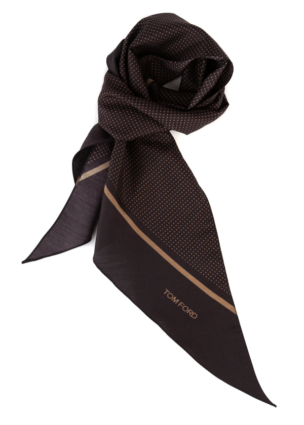 Tom Ford Mens Brown Polka Dot Print Angular Edges Black Silk Scarf - Tribeca Fashion House