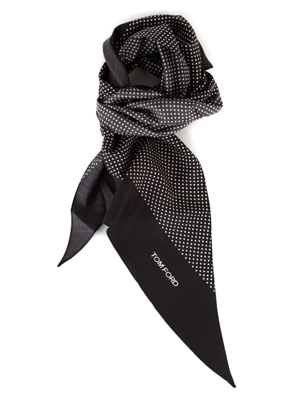 Tom Ford Mens White Polka Dot Print Angular Edges Black Silk Scarf - Tribeca Fashion House