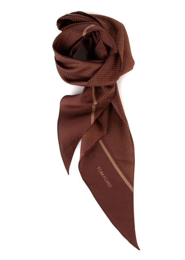 Tom Ford Mens Polka Dot Print Angular Edges Brown Silk Scarf - Tribeca Fashion House