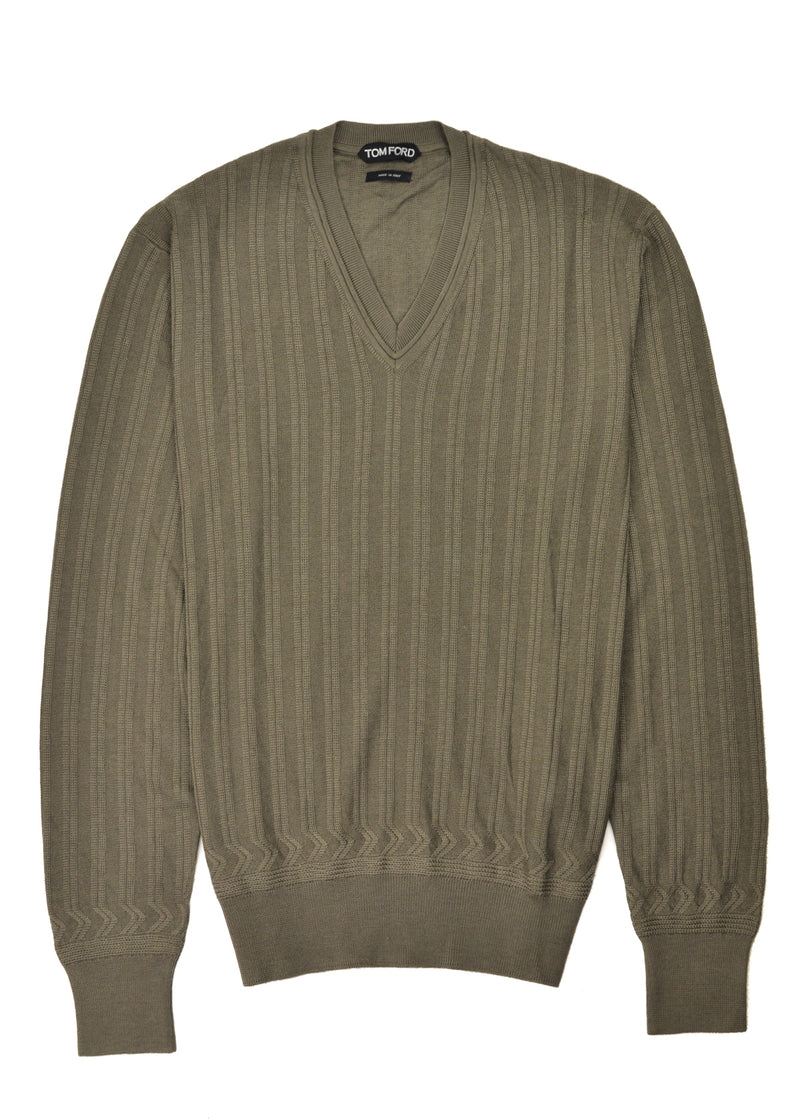 Tom Ford Mens Cashmere Silk Army Green Ribbed Henley Sweater - Tribeca Fashion House