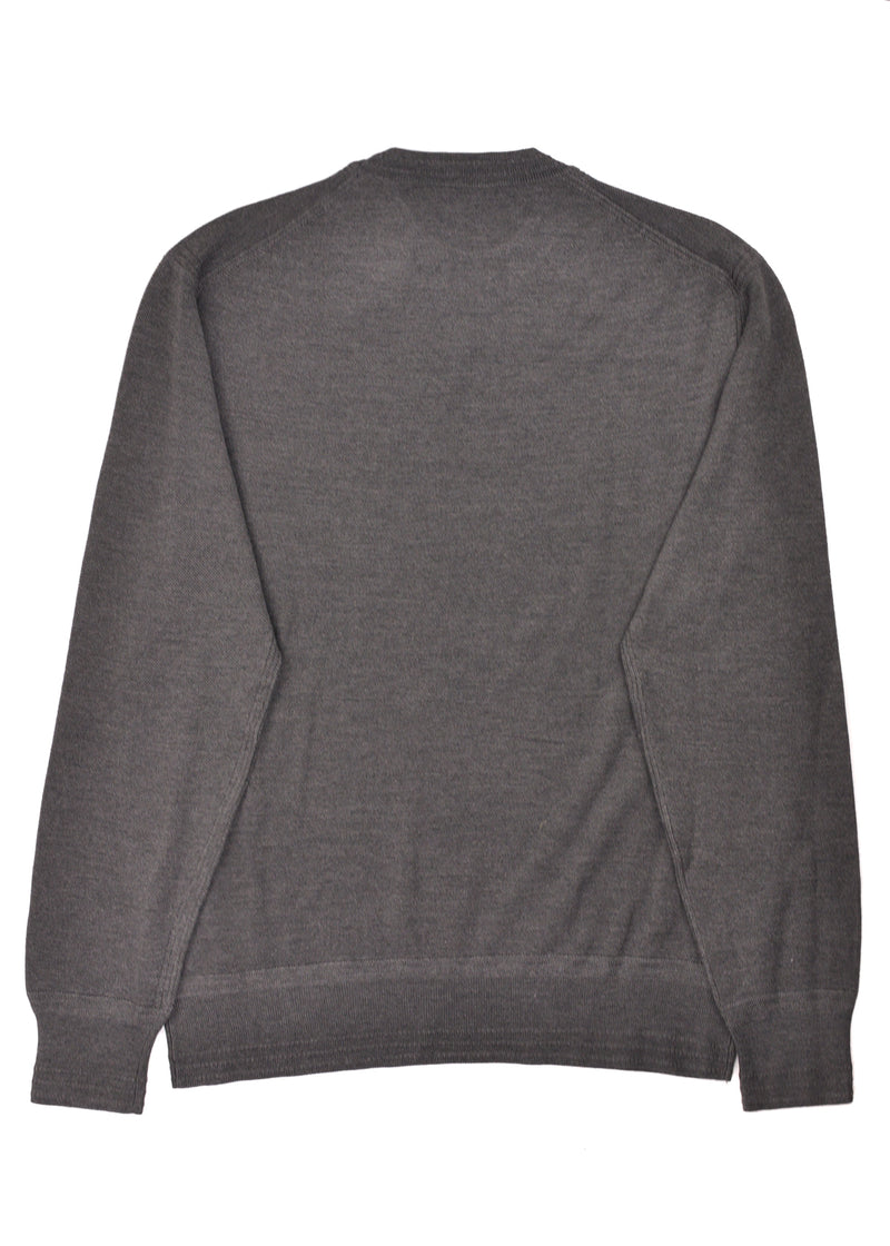 Tom Ford Mens Wool Silk Grey Crewneck Cable Knit Sweater - Tribeca Fashion House