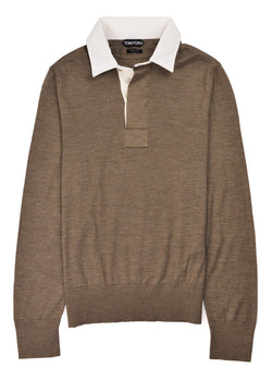 Tom Ford Mens Brown Cashmere Silk Long Sleeve Polo Shirt - Tribeca Fashion House