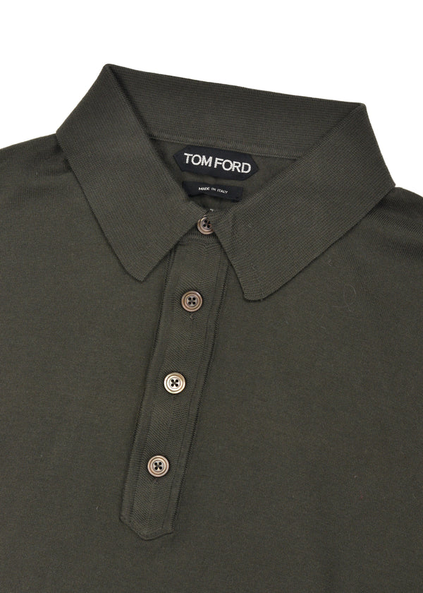 Tom Ford Mens Dark Olive Cotton Long Sleeve Polo Shirt - Tribeca Fashion House