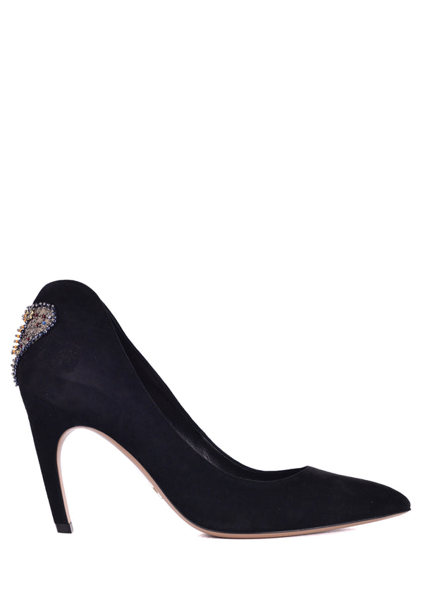Dior Womens Black Suede Dior Amour Embroidered Pumps - ACCESSX