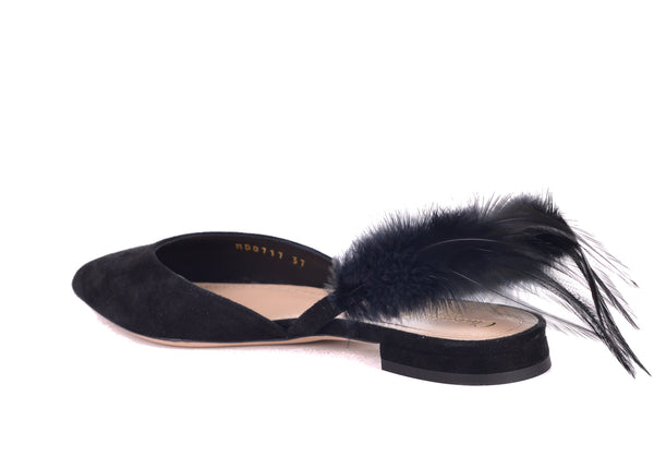 Dior Womens Black Suede Dior Ethnie Feather Flats - ACCESSX