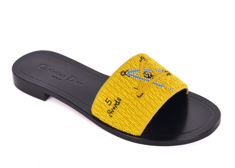 Dior Womens Yellow Dior Tarot Swords Embroidered Clog Slippers - ACCESSX