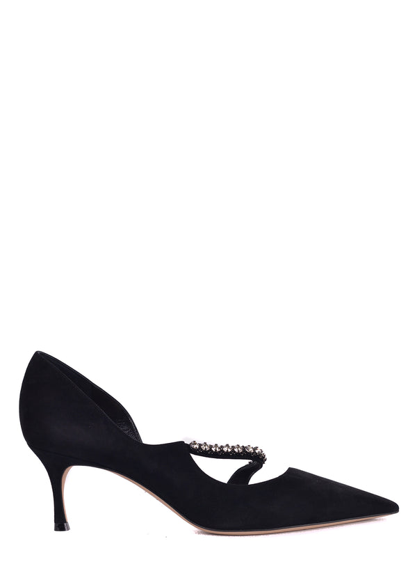 Dior Womens Black Suede Diorly Rhinestone Pumps - ACCESSX