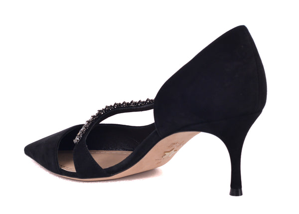Dior Womens Black Suede Diorly Rhinestone Pumps