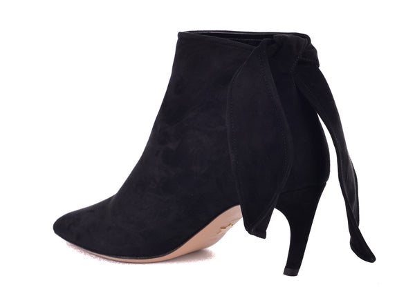Dior Womens Black Suede La Belle D Tied Ankle Boots