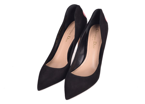 Dior Womens Black Suede Dioramour Adorned Heart Pumps