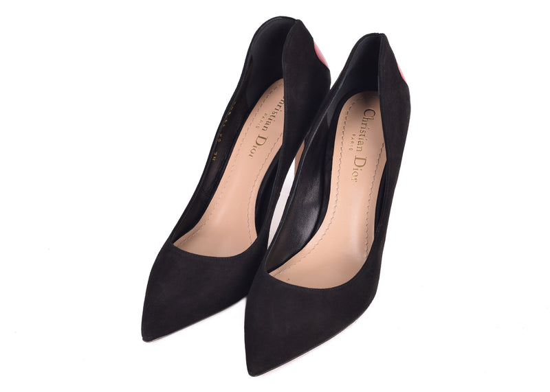 Dior Womens Black Suede Dioramour Adorned Heart Pumps - ACCESSX