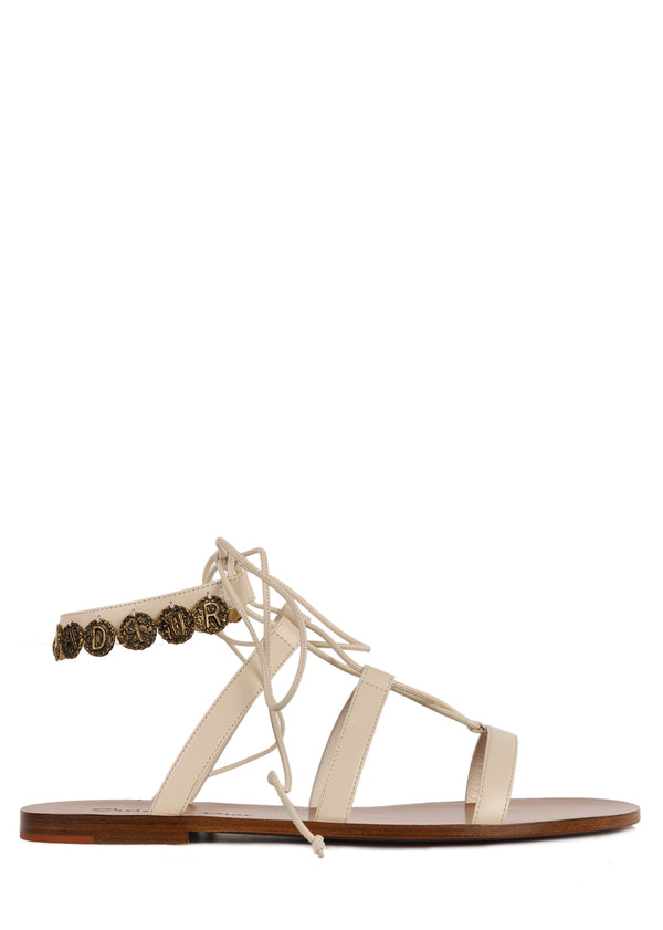 Dior Womens Ivory Leather Dior Zodiac Flat Sandals - ACCESSX