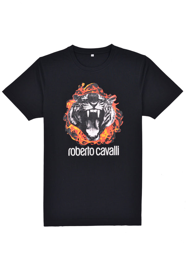 Roberto Cavalli Mens Black Cotton Flame Tiger Graphic T Shirt - Tribeca Fashion House