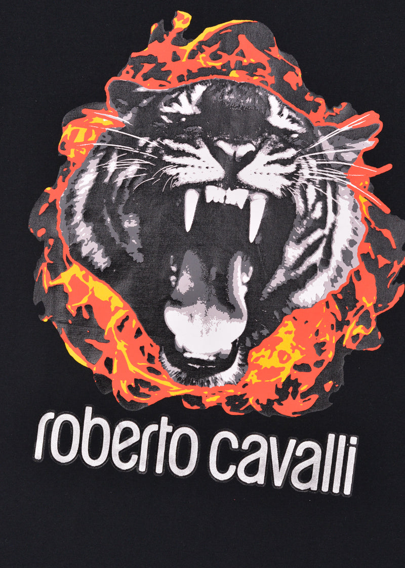 Roberto Cavalli Mens Black Cotton Flame Tiger Graphic T Shirt - ACCESSX