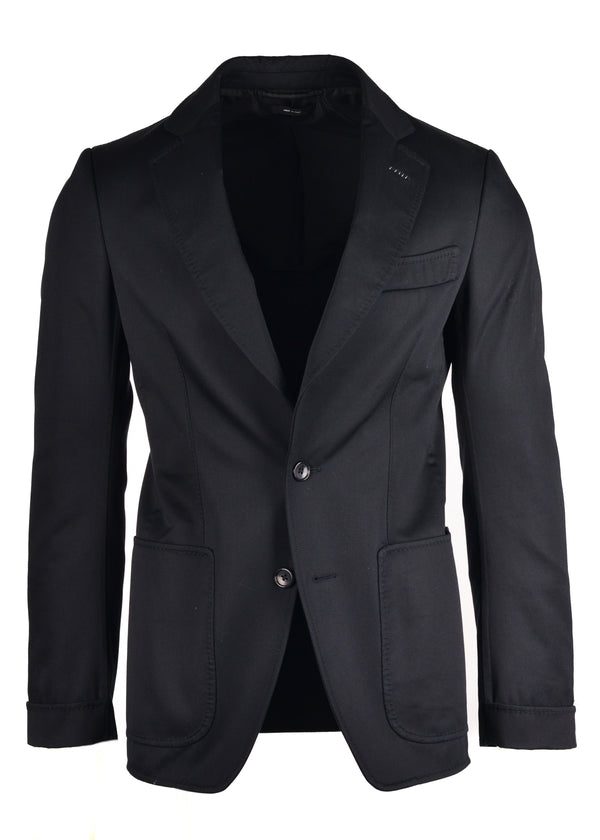 Tom Ford Mens Black Cotton Silk Notch Lapel Jacket Blazer - Tribeca Fashion House