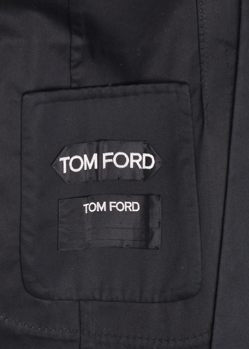Tom Ford Men's Black Cotton Silk Notch Lapel Jacket Blazer - Tribeca Fashion House