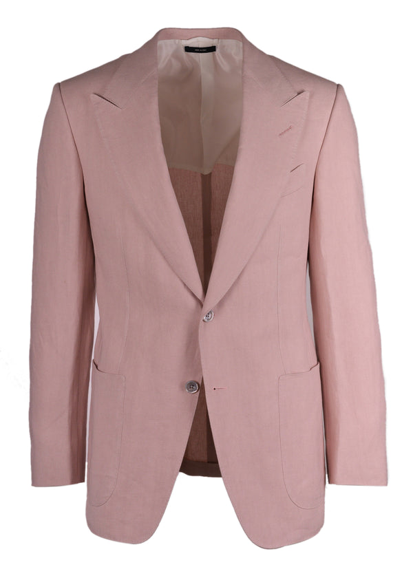 Tom Ford Men's Pink Linen Shelton Peak Lapel Windsor Jacket - Tribeca Fashion House