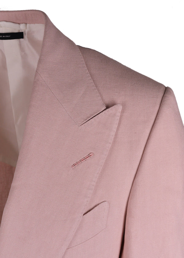 Tom Ford Mens Pink Linen Shelton Peak Lapel Windsor Jacket - Tribeca Fashion House