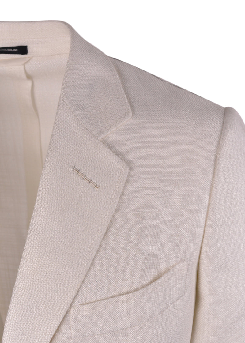 Tom Ford Mens White Viscose Shelton Dinner Jacket Blazer - Tribeca Fashion House