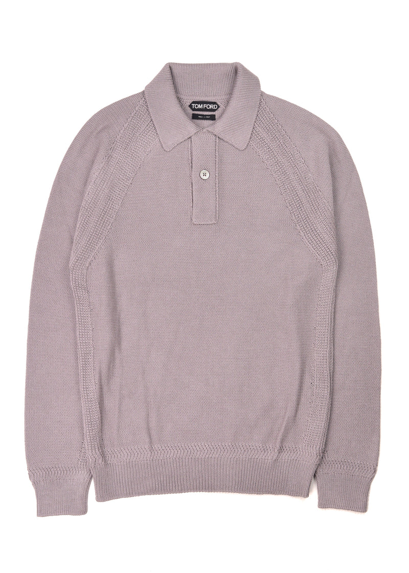 Tom Ford Mens Grey Woven Silk Long Sleeve Polo Shirt - Tribeca Fashion House