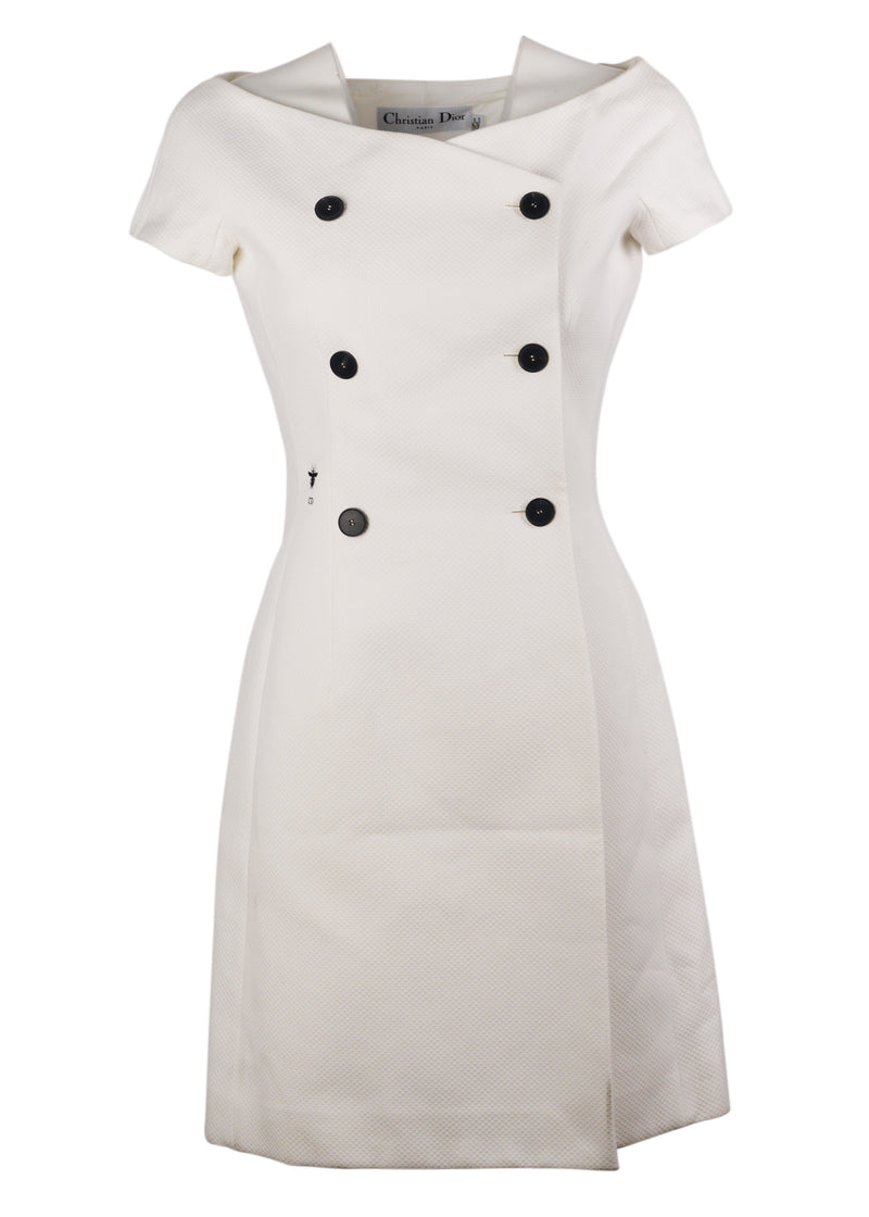 Dior Womens White Double Breasted Off the Shoulder Dress - ACCESSX