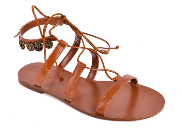 Dior Womens Brown Leather Dior Zodiac Flat Sandals - Tribeca Fashion House