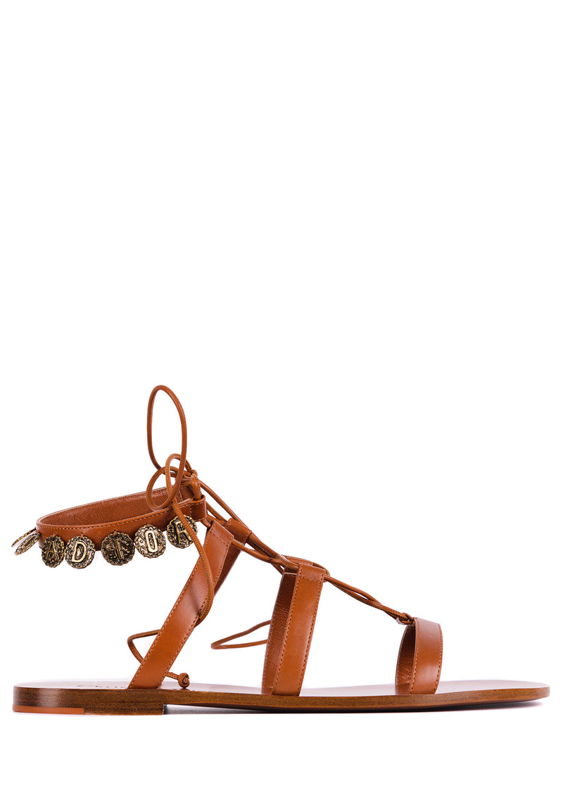 Dior Womens Brown Leather Dior Zodiac Flat Sandals - ACCESSX
