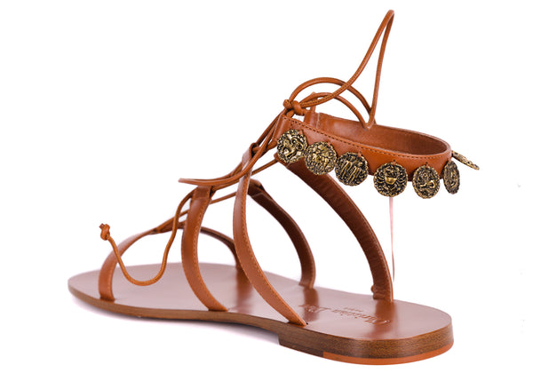 Dior Womens Brown Leather Dior Zodiac Flat Sandals