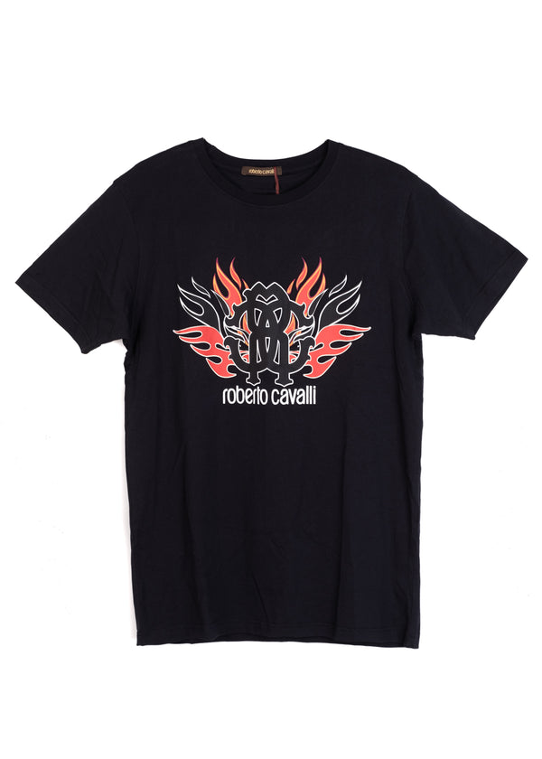 Roberto Cavalli Mens Black Cotton Flame Logo Graphic T Shirt - ACCESSX