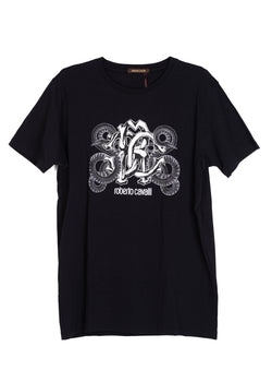 Roberto Cavalli Mens Cotton Black Snake Logo Graphic T Shirt - ACCESSX