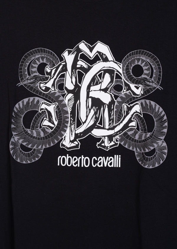 Roberto Cavalli Mens Cotton Black Snake Logo Graphic T Shirt - Tribeca Fashion House
