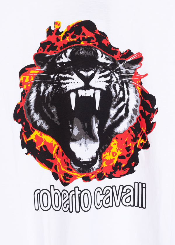 Roberto Cavalli Mens White Cotton Logo Tiger Flame Graphic T-Shirt - ACCESSX