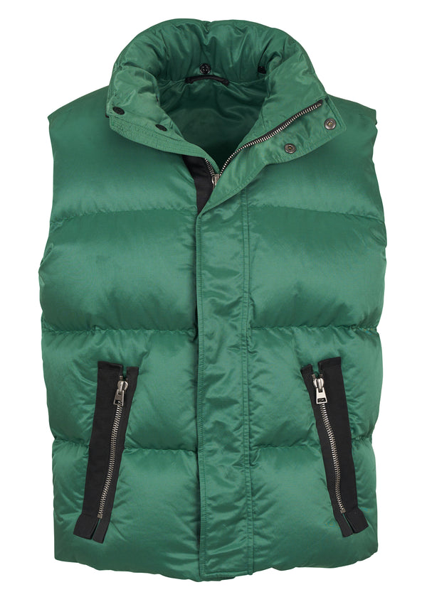 Tom Ford Mens Green Cotton Blend Puffer Sleeveless Vest - Tribeca Fashion House