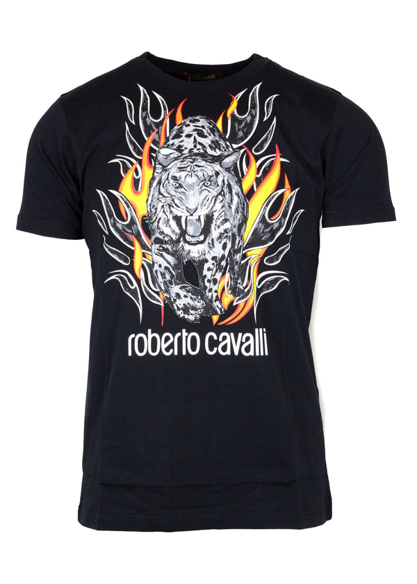Roberto Cavalli Mens Black Cotton Logo Lion Flame Graphic T Shirt - Tribeca Fashion House