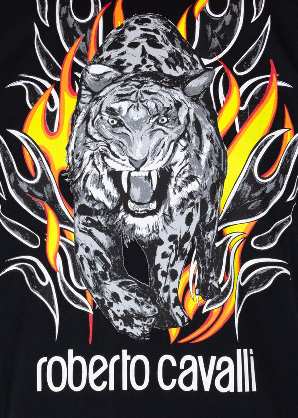 Roberto Cavalli Mens Black Cotton Logo Lion Flame Graphic T Shirt - ACCESSX