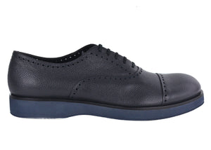 Giorgio Armani Mens Dark Grey Leather Perforated Oxfords - Tribeca Fashion House